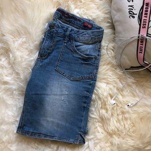 Medium Blue Ripped Jean Women Shorts
